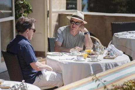 "Rob Brydon (left) and Steve Coogan discuss wines and do impersonations in ""The Trip to Italy."""